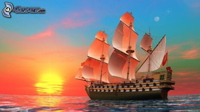 bateau-a-voile,-couchage-de-soleil-a-la-mer-173935