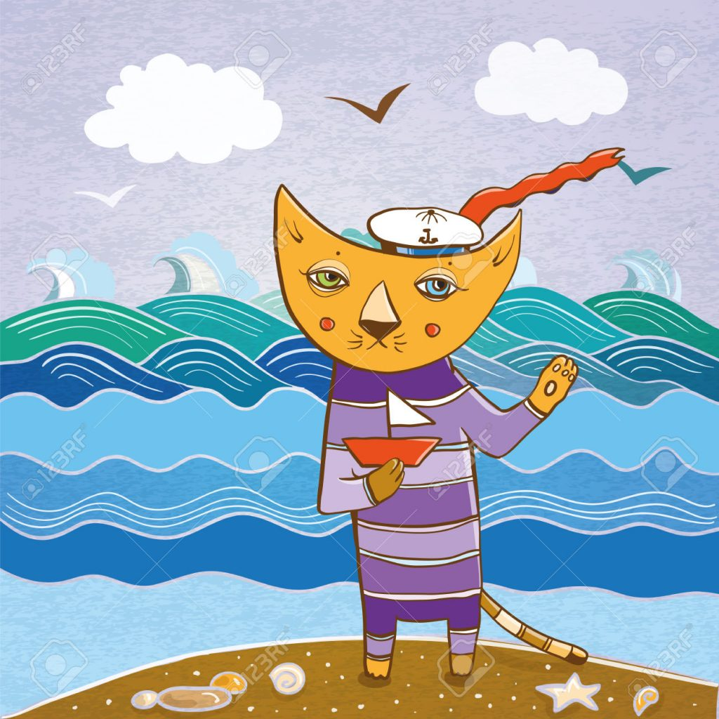 cat sailor on the beach with a ship