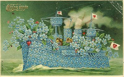 CPA-Bonne-Année-1907-Bateau-fleur-cœur